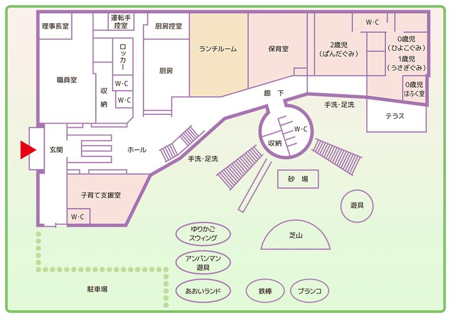 配置図 1階と園庭